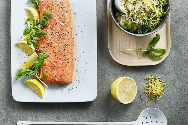 Salmón al horno con risotto de limón